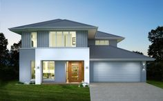 Whether you're after single-storey, double storey , split-level, or dual occupancy homes, we have it all. Explore our new home designs QLD at Metricon now! Luxury Apartments, Luxury Homes, Exterior House Colors, New Home Designs, Facade House, House Front, Townhouse, Building A House, New Homes