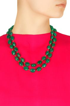 Gold finish green onyx double layer necklace available only at Pernia's Pop-Up Shop. Up Shop #festive#designer #fashion #HappyShopping #love #shopnow #accessories #artkarat