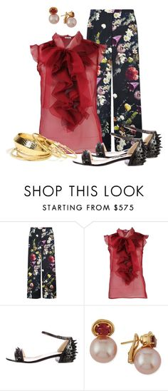 """""""Red Ruffles"""" by hope-houston ❤ liked on Polyvore featuring ADAM, Oscar de la Renta, Christian Louboutin and Belpearl"""