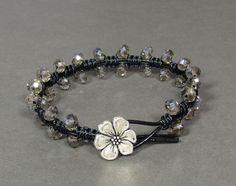 Swarovski Crystal Macrame Bracelet Silver Shade by UrbanCorner, $21.00