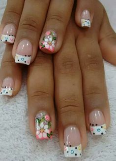 Glamorous Flower Nail Art Designs for Summer Fabulous Nails, Gorgeous Nails, Pretty Nails, Fingernail Designs, Toe Nail Designs, Nails Design, French Nail Art, Floral Nail Art, Nail Designs Spring