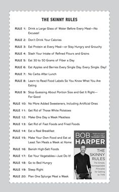 """The Skinny Rules - excerpt from Bob Harper's book """"The Skinny Rules - The Simple, Nonnegotiable Principles for Getting to THIN"""""""