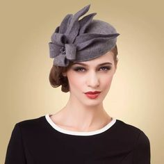 Women Fascinators Pillbox Wool Hat Gray Winter Vintage Felt Festival Party  Wedding Ladies Women Fedoras With Fascinating Floral f1c0d5b5aaf8