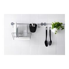 """BYGEL Rail, silver color - 21 ¾ """" - IKEA Mounted under RIBBA picture ledge above coffee station to hang mugs and display art/photos"""