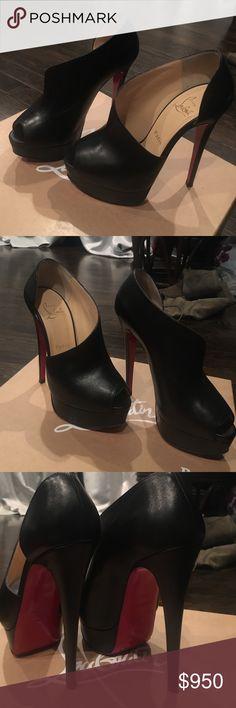 HEELS BLACK MATTE HEELS BRAND NEW WORN ONCE .. VERITA 150 CALF LUX Christian Louboutin Shoes Heels