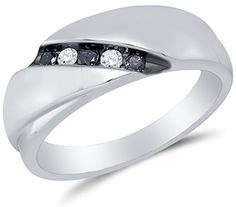 Fresh  Sterling Silver Black Round Diamond Mens Wedding Band Ring Channel Setting