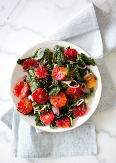 KALE AND BLOOD ORANGE SALAD via A House in the Hills