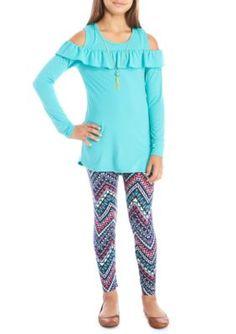 One Step Up Long Sleeve Turquoise Ruffle Cotton Spandex Printed Legging Set - Jade Challenge - M