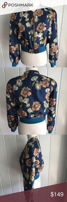 Tara Jarmon Paris Navy Hawaiian Bomber Jacket - S NWT  This ultra-chic bomber jacket features a Hawaiian floral print, pockets and a cropped design. 100% viscoise. FRENCH SIZE 38 = US SIZE 8/SMALL Tara Jarmon Paris Jackets & Coats