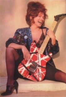 Valerie Bertinelli with Eddie Van Halen's Kramer Frankenstein Wolfgang Van Halen, Bass, Famous Guitars, David Lee Roth, Valerie Bertinelli, Women Of Rock, Eddie Van Halen, Guitar Girl, Music Pics