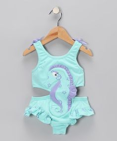 Take a look at this Aqua Seahorse Sunsuit - Toddler & Girls by Le Top on #zulily today!