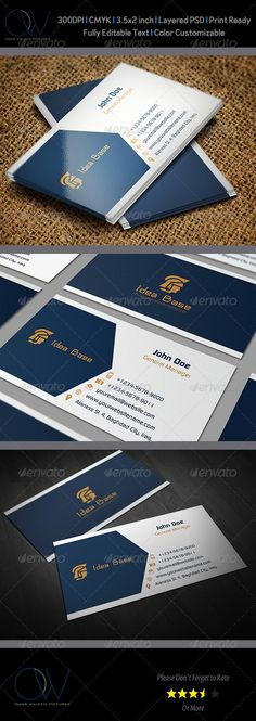 Buy Idea Base Business Card by OWPictures on GraphicRiver. Business Card Description: Idea Base Business Card was designed for exclusively corporate and small scale companies. E Commerce Business, Business Marketing, Business Card Design, Creative Business, Visiting Card Design, Name Card Design, Bussiness Card, Website Themes, Name Cards