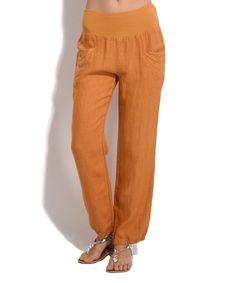 Yellow Carme Linen Pants
