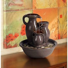 Triple Jug Indoor Outdoor Tabletop Fountain | eBay