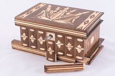 Magyar Folk Art Wooden Secret Puzzle Box w/ Hidden Compartments Brown