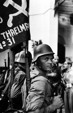 "David ""Chim"" Seymour     Members of the Thaelmann Brigade, An Internationalist Brigade of German Anti-fascist Volunteers in the Spanish Civil War     1936"