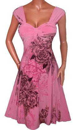 RO2 FUNFASH PINK ROSE EMPIRE WAIST COCKTAIL DRESS WOMEN PLUS SIZE DRESS 1X 18 20