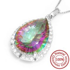 Gem Stone 12ct Genuine Mystic Rainbow Fire Topaz Pendant – Gemstonese