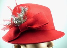 Red Wool Trilby Hat with Natural Feather Plume