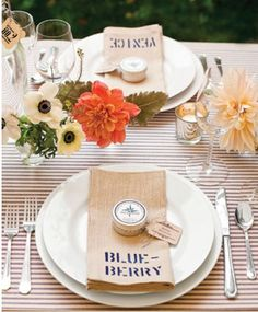 striped linen, stencil napkins, bud vase floral for a casual summer table #wedding #summerwedding