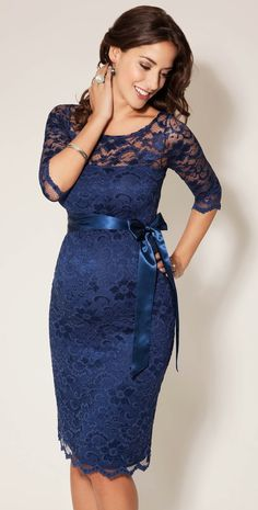 Great for pregnant wedding guest .Amelia Lace Maternity Dress Short (Windsor Blue) by Tiffany Rose Maternity Bridesmaid Dresses, Maternity Wear, Maternity Fashion, Maternity Wedding, Wedding Dresses, Navy Blue Maternity Dress, Maternity Nursing, Maternity Tops, Winter Wedding Outfits