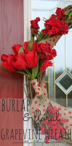 Make a pretty burlap and floral grapevine wreath this Spring to brighten up your front door via www.waittilyourfathergetshome.com #wreath #g...