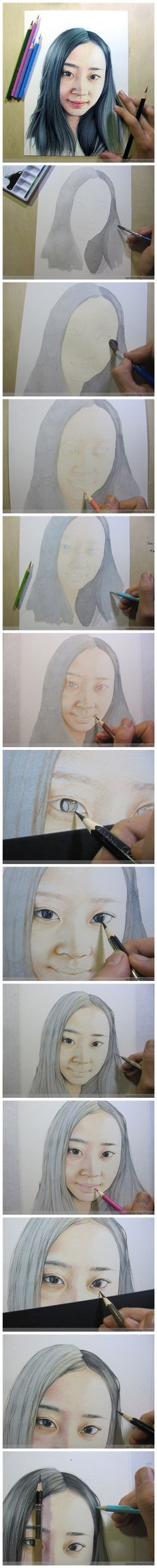 Realistic girl painting/drawing with instructions.