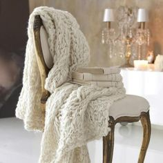 Soft Crocheted Throw on Chair by Dianne Prather