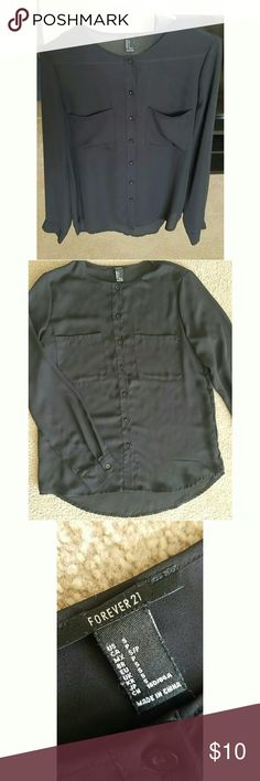 FOREVER 21 Black Long Sleeve Top Forever 21 button-down black flowy top! Adorable! Size small. Great condition. Has buttons on sleeves as well. Forever 21 Tops Button Down Shirts