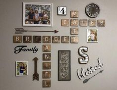 Personalized Wooden Scrabble Family Name Tiles Wall Decor (Connected or single tiles) inches - dark walnut stain - Price Per Tile Family Wall Decor, Letter Wall Decor, Name Wall Art, Wood Wall Decor, Family Wall Collage, Family Name Art, Family Wall Quotes, Photo Wall Decor, 3d Wall
