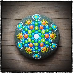 Jewel Drop Mandala Stone- green supreme extreme. $25.00, via Etsy.