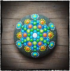 Jewel Drop Mandala Stone- green supreme extreme.  #elspethmclean #mandala #green #dots #rocks #stones