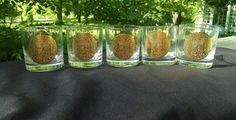 5 Georges Briard Gold Colored Embossed Highball Rocks Glasses 4 Signed