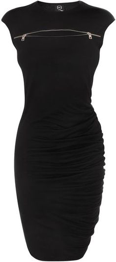 McQ by Alexander McQueen Jet Black Zip Sbend Dress