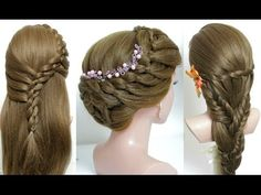 3 easy hairstyles for long hair tutorial. Quick and cute braids - YouTube