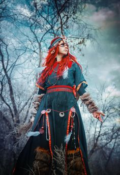 Nice shaman-esque garb. If you look carefully (or at her other pics) you can see a third eye on her forehead. - Wind by Elena-NeriumOleander
