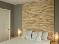 Headboard made out of wood shims.
