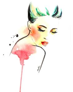 Fashion illustration art print Woman looking down by sookimstudio