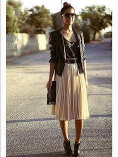 women's spring fashion PU leather blazer jacket+black shirt+mesh net pleated skirt