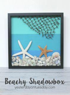 DIY Beachy Shadowbox, a great way to display summer treasures