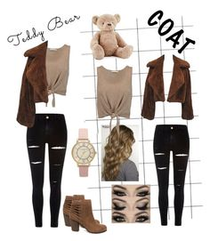 """Teddy Bear Coat"" by mikaela-greene ❤ liked on Polyvore featuring Jellycat, River Island, Alice + Olivia, Steve Madden and Olivia Burton"