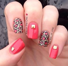Love these tiger nails Gorgeous Nails, Pretty Nails, Chloe Nails, Leopard Print Nails, Pink Cheetah, Red Leopard, Crazy Nails, Manicure E Pedicure, Get Nails