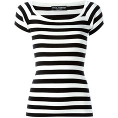 Dolce & Gabbana striped knit T-shirt (561.775 CLP) ❤ liked on Polyvore featuring tops, t-shirts, shirts, blusas, tees, black, stripe shirt, short sleeve shirts, tee-shirt and striped tee