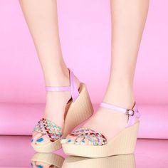 Fashion Ankle Straps Wedges Sandals Pumps Platform High Heels Women Dress Shoes 2498