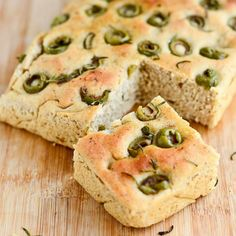 This from-scratch recipe for Focaccia Olive Bread lets you make it at home without the strange ingredients in commercial versions. Vegan Recipes Easy Healthy, Healthy Desserts, Olive Bread, Olive Recipes, Freshly Baked, Vegan Dishes, Plant Based Diet, Kid Friendly Meals, Easy Meals