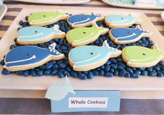 Whale_Cookies - Same as Flip Flop and Surf Board Cookies Whale Cupcakes, Whale Cookies, Fish Cookies, Baby Shower Themes, Baby Boy Shower, Shower Ideas, Baby Showers, Mermaid Birthday, Birthday Fun