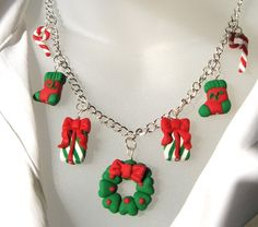 Christmas Medley Clay Charm Necklace hand sculpted holidays