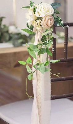 10x Long Tail Yarn Satin Ribbon Bows White Party Wedding Car Chair Bouquet Decor