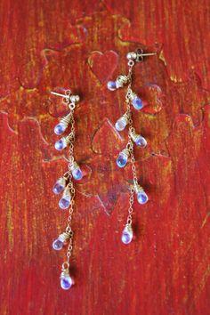 Teardrop earrings, 14k gold filled chain, brass wire wrapped glass drop dangles. 14k gold filled posts