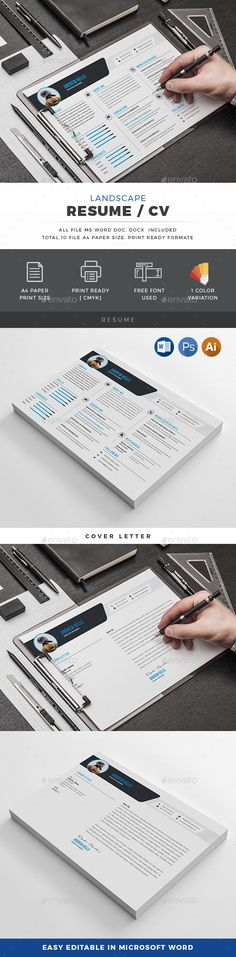 Landscape Resume Template MS WORD, PSD & Illustrator